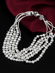 High Quality Punk Silver Silver-Plated Beads Strand Bracelets