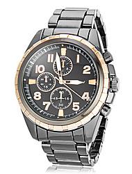 Hombre Deportivo Oro dial redondo de acero de tungsteno banda de cuarzo reloj de pulsera analógico (colores surtidos)