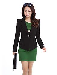 Women's Black/White Blazer , Casual Long Sleeve