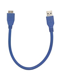 Premium Quality Blue 1FT 0.3m USB 3.0 A Male to Micro B Male Cable for Hard Disk & Mobile Phone
