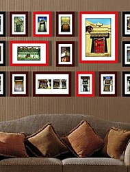 Black Red Mixed Color Photo Wall Frame Collection Set of 16