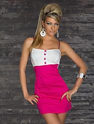Shirley Women's Sexy Contrast Color Strap High Waist Buckle Dress