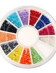 400PCS 12-Farben 2mm halbe Perlen Bead Nail Art Deko