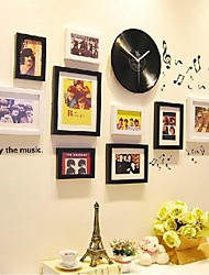Black White Photo Frame Collection Set of 9 with a Black Disc Clock and Music Wall Sticker