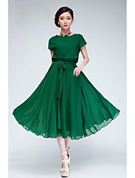Women's Green/Black Chiffon Dress, Short Sleeve With Belt