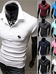 New Men's Short Sleeve Lapel T Shirt Embroidered Elk