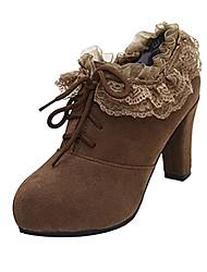 Suede Frauen Chunky Heel Heels Schuhe Schnürschuhe mit Lace-up/Lace (weitere Farben)