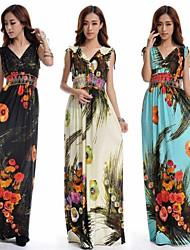 Summer Fashion sexy V-Ausschnitt Blumendrucken Eis Seidenkleid