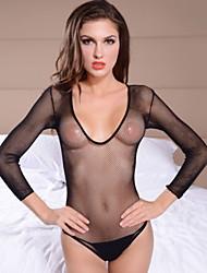 Женская Ultra Sexy длинным рукавом Прозрачный корсет с G-Strings