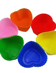 Love Heart  Shape Muffin Moulds, Cupcake Moulds , 12 Pieces per Set, L 7cm x W 6.5cm x H 3cm, Random Assorted Color