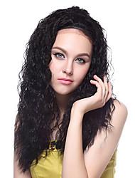 100% Kanekalon Synthetic Fluffy Curly Medium Natural Black Wig