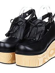 Plataforma de madeira bowknot Sweet Lolita 8 centímetros de salto alto Sapatos