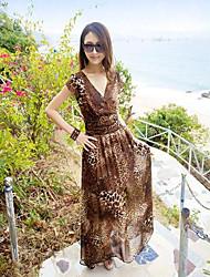 TS-Casual Leopard Montón Collar Beach Maxi Dress Sexy