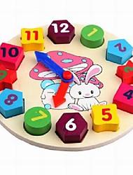 Baby  Educational Toys Wooden Rabbit Colorful Clock Blocks