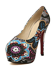 C-Show Women's Fashion Closed Toe Floral Print PU Leather Platform Stiletto Heel Pumps