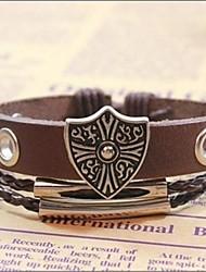Charm Bracelet 24 centimetri d'epoca da uomo in pelle marrone (1 Pc)