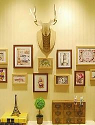 Color Marrón Natural Photo Frame Collection Juego de 11 con un cuerpo de madera de los ciervos de bricolaje