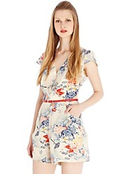 vestido v Mini profundo, impresión de la gasa multicolor de las mujeres