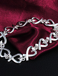 High Quality Sweet Silver Silver-Plated Heart Bow Charm Bracelets