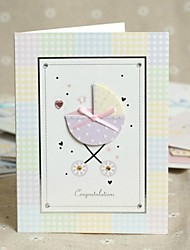 Baby Carriage Design Side Fold Greeting Card for Baby Shower