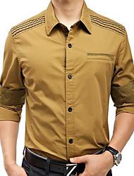 Algodão Khaki Men camisa de manga longa