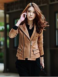 Women's Black/Brown Jackets , Casual Long Sleeve