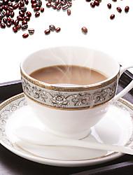 Modern Coffee Mug with Plate, Set of 2 Porcelain 9oz