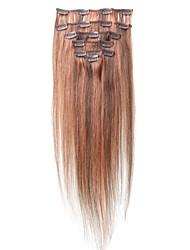 18 cm # 4/30 noir et Blonde 7 PCs humain soyeux cheveux Clips droites mixtes dans les extensions de cheveux