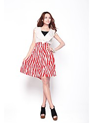 Zoely Women's Sweet High Waist Ruffle Abstract Stripe A-Line Bodycon Dress 101122L086