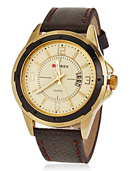 Men's Calendar Round Dial Pu Leather Band Quartz Analog Wrist Watch (Assorted Colors) Cool Watch Unique Watch