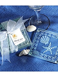 Amasra Shell and Starfish Frosted Glass Coasters
