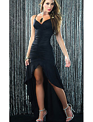 Shirley Women's Charming Strap Pleat Backless Asymmetrical Swing Maxi Dress