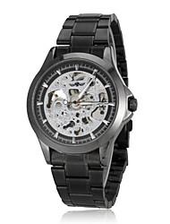 Hombres Auto-mecánica Silver Skeleton Titanium Acero Negro banda reloj de pulsera