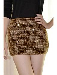 Elasticité Sequins Mini-jupe des femmes