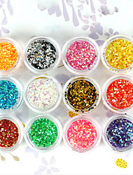 12-Color 1mm Hexagonal Glitter Tablets Nail Art Decorations(Random Color)