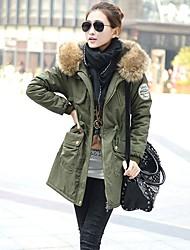 Women's Fur Collar Elestic Waist Thick Long Coat