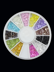 12, color transparente Nail Art Bow Arcylic Decoraciones