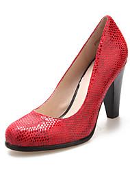 Leder Damen Blockabsatz Heels Pumps / Absatz-Schuhe