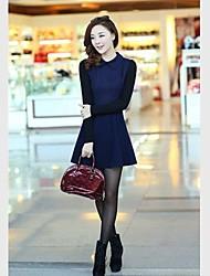 Femmes cultivent sa moralité manches longues Mini robe en tissu