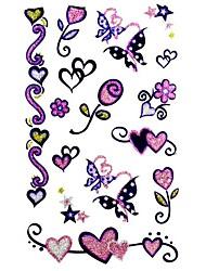 5 Pcs Flower VS Heart Waterproof Temporary Tattoo(9.5cm*19.5cm)