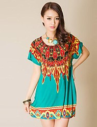 Printed Rhinestone Peacock Feather Dress in Women in Southeast Asia(Tailoring Random)