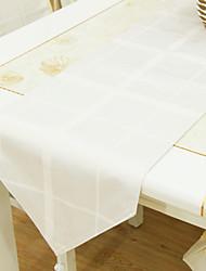 Yarn Dye White Table Runner