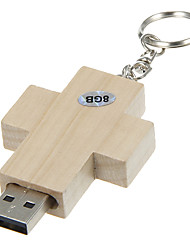 8G Cross Shaped Wooden Material with Keychain USB Flash Drive