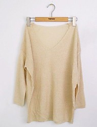 Sciolto da donna pipistrello V Neck Knit Sweater Pullover Tops