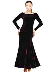 Ballroom Dance Outfits Women's Training Velvet Purple / Other Modern Dance / Performance / Ballroom Backless Spring, Fall, Winter, Summer
