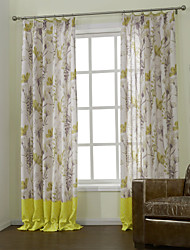 Two Panels  Country Garden Energy Saving Lined Curtain