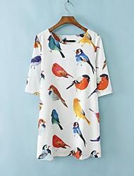 tamaño más mini vestido de la manga de la gasa de la mitad de las aves de impresión de las mujeres