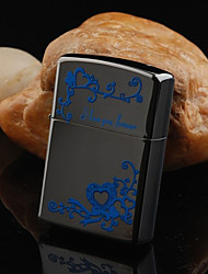 Personalized Engraved Flower Pattern Black Oil Lighter