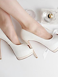 C-Show Women's White Elegant Open-Toe PU Leather Platform Stiletto Heel Pumps