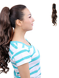 High Temperature Resistance Japanese Kanekalon Fiber Synthetic Ribbon Tied  Light Brown Horsetail Ponytail Curly Hairpiece